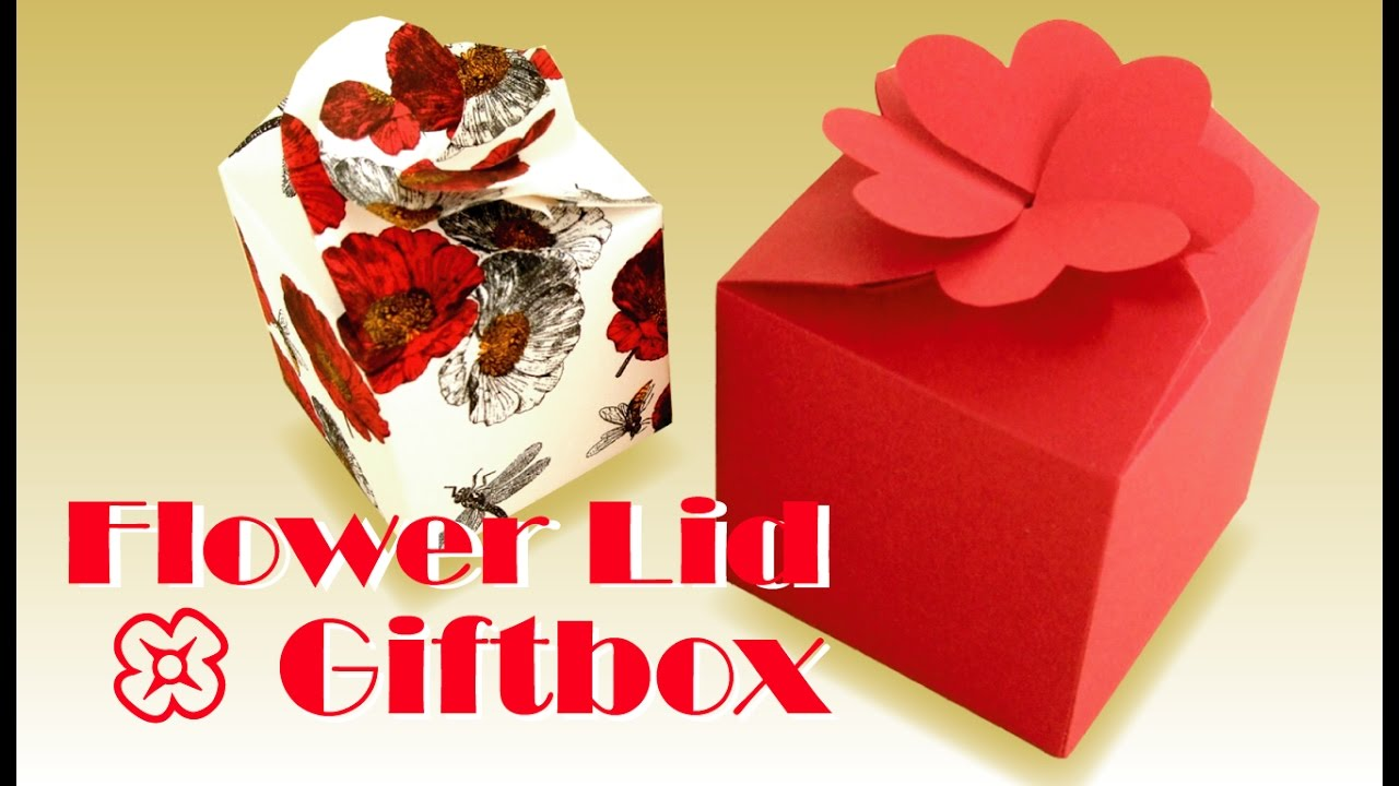 origami gift box with flower lid its youtube uninterrupted negle Images