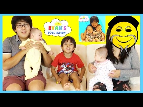 RYAN TOYSREVIEW MOM FACE REVEALED! NEW CHANNEL Ryan's Family Review Twins  Baby Tummy Time