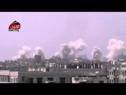 عربين 3-9-2014 قصف هائل على حي جوبر الدمشقي