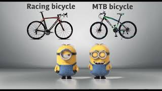 Racing bicycle VS MTB bicycle Minions style