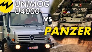 Repeat youtube video Unimog U4000 vs. Panzer