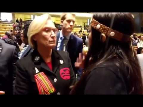 Kanahus Manuel confronting INAC Minister Bennett on misleading UN Permanent Forum on Indigenous Iss