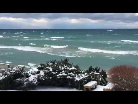Lake Michigan waves on Christmas day