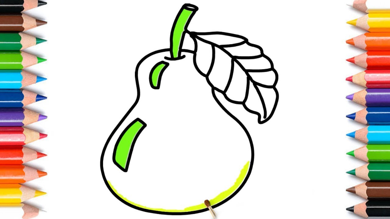 Easy Draw And Coloring Pear Fruits