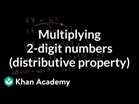 Multiplying: 2 digits numbers (using distributive property) | 4th grade | Khan Academy