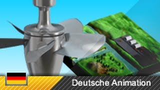 Flusskraftwerk / Kaplan-Turbine / Laufwasserkraftwerk - Funktion und Aufbau (3D-Animation)