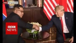 Trump Kim summit: Sitting down side-by-side - BBC News