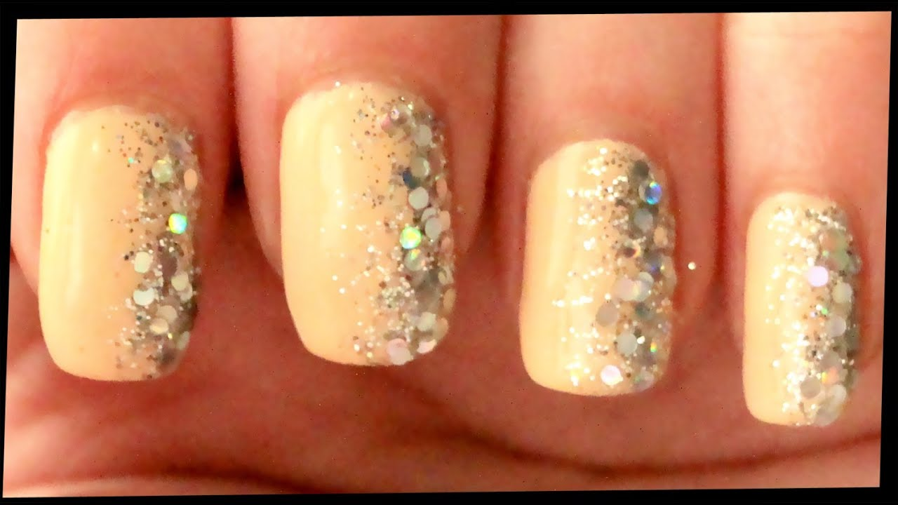 Silver glitter on nude nail art youtube prinsesfo Choice Image