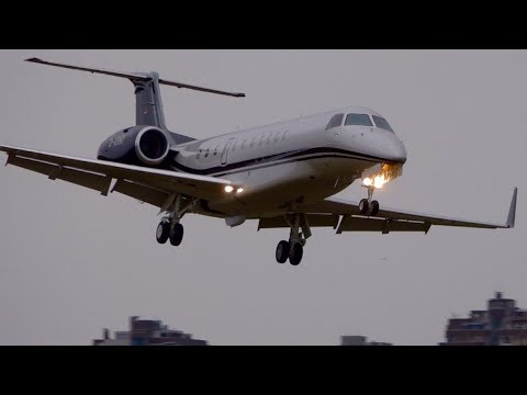 Crosswind Landing Embraer ERJ-135 D-ARMY at Bern
