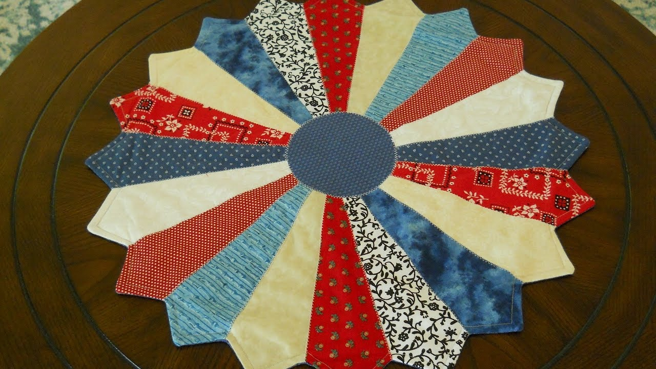Quilted Round Table Toppers.Red White And Blue Dresden Plate Table Topper