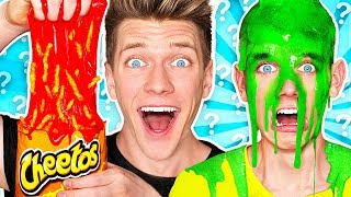 mystery wheel of slime challenge hot cheetos slime learn how to make diy switch up oobleck food