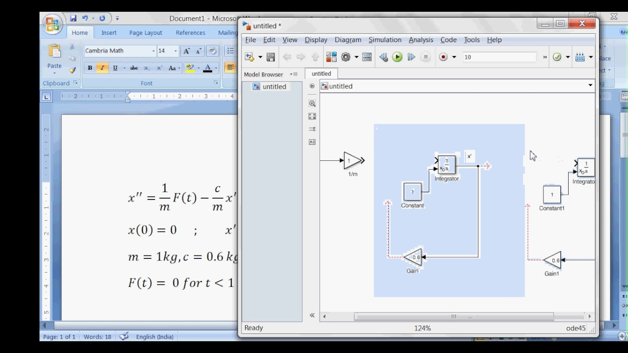 how to solve second order differential equations in matlab