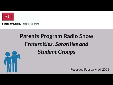 Boston University Parents Program Radio Show - Fraternities, Sororities and Student Groups