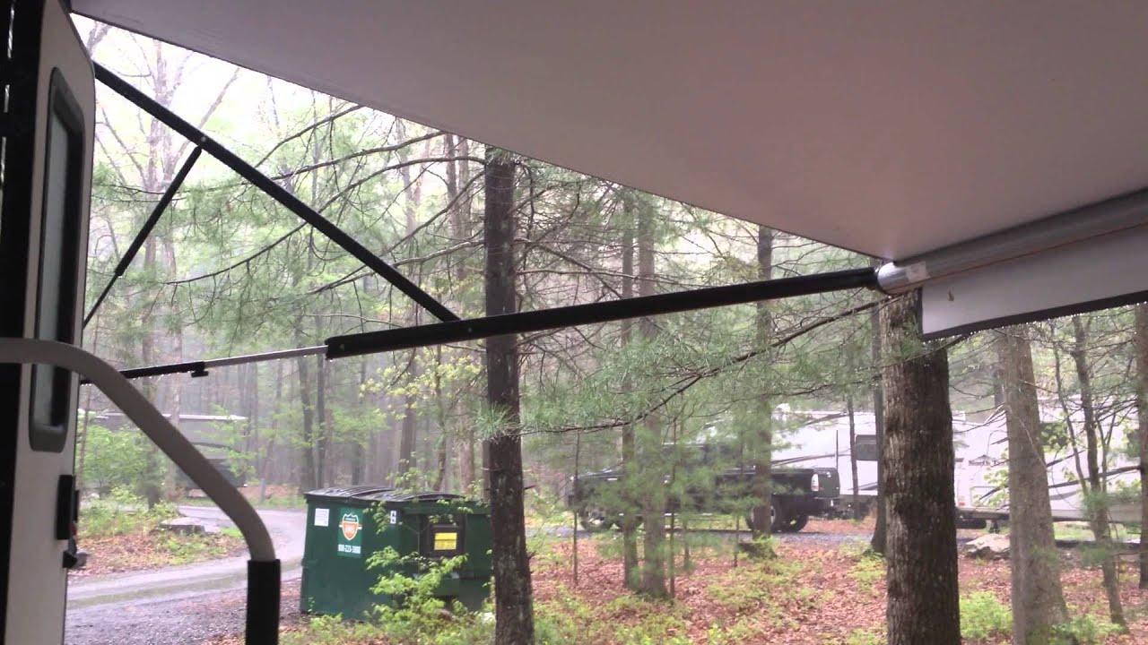 RV awning - self dumping RV awning during rainstorm ...
