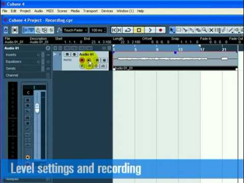 Cubase  Tutorial 1 - Recording Audio