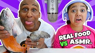 TWIN TELEPATHY REAL FOOD CHALLENGE! Guess That Sound w/ Salmon & DIY Slime