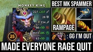 How to Make all 5 Enemy Rage Quit 19Min GG with Rampage - BEST Monkey King Spammer 25Kills DotA 2