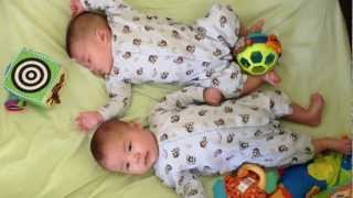 our 3 months old twin boys playing