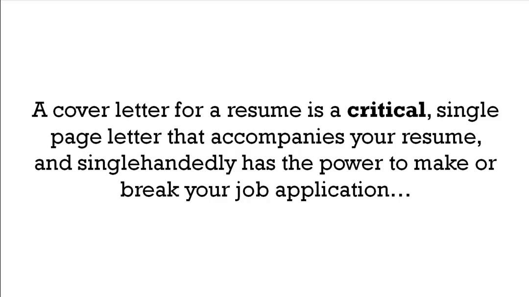 What Is A Cover Letter For A Resume - YouTube