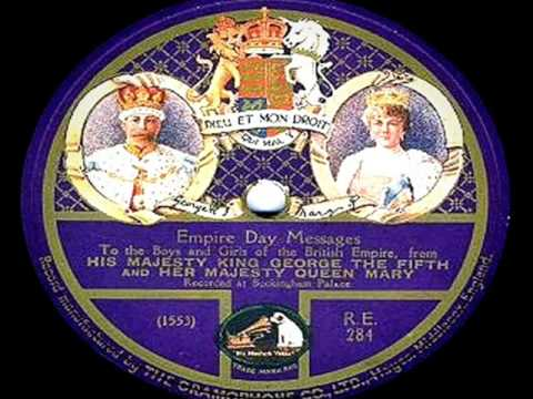 (Very Rare!) King George V & Queen Mary of England - Empire Day Messages (1923)