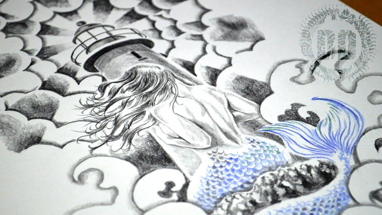 Mermaid Lighthouse Tattoo Design Speed Drawing