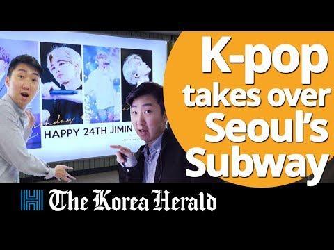 Video] K-pop ads taking over Seoul subway