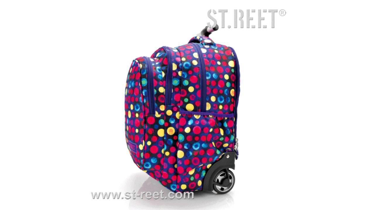 4fcad0cc9d326 Plecak na kółkach ST.REET fioletowy w kropki dla dziewczyny - ePlecaki.pl