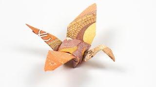 Geld falten Kranich: Vogel aus einem Geldschein falten