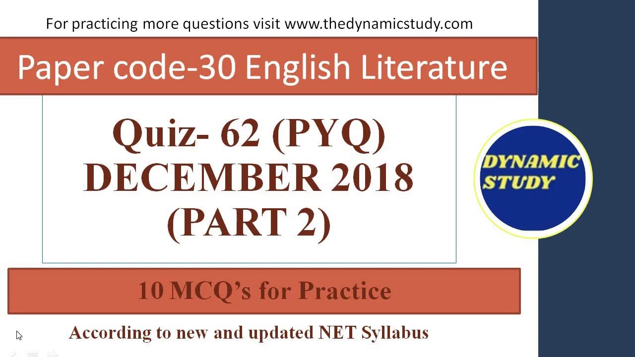 English Literature Quiz-62 PYQs Part-2 Dec 2018