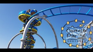 Tidal Wave Spinning Roller Coaster Clearence Pier - Europe's only! POV