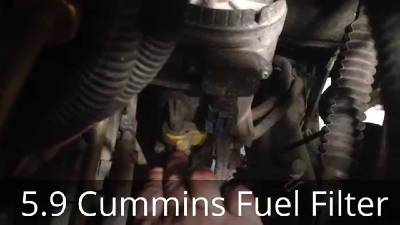 cummins diesel fuel filter change 5 9 cummins dodge ram 2500 3500 youtube [ 1280 x 720 Pixel ]