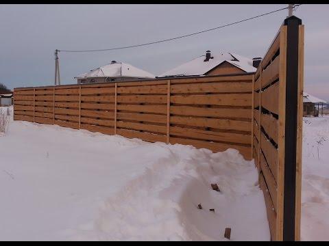 Забор из необрезной доски + терраса с перилами