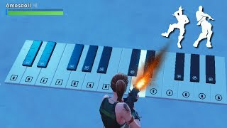 So I played the TOP 10 Fortnite Dances by SHOOTING the In-Game Piano