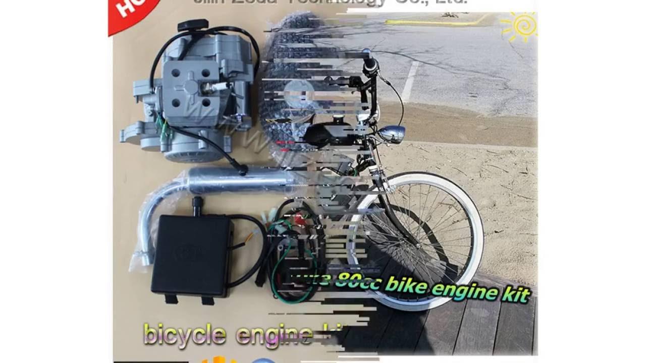 Electric start 2 stroke 80cc bicycle engine kits  YouTube