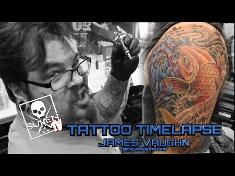 Tattoo Time Lapse - James Vaughn - Tattoos Color Coy Fish