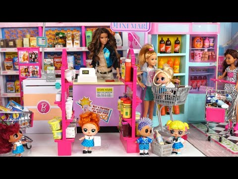 LOL Doll Family Shopping in Barbie Supermarket  for Holiday Charity Event
