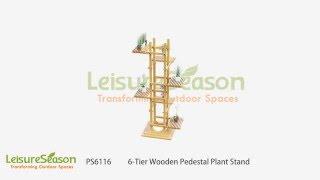 PS6116 6-tier indoor, outdoor wooden pedestal plant stand