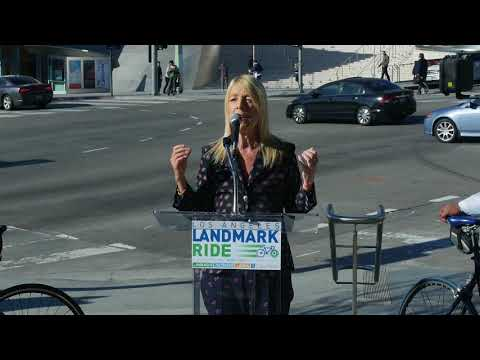 Beverly Hills Mayor Lili Bosse speaking at LA Landmark Ride Launch