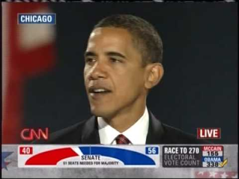 Barack Obama Acceptance Speech November 4 2008 Grant Park, Chicago Illinois PART 1