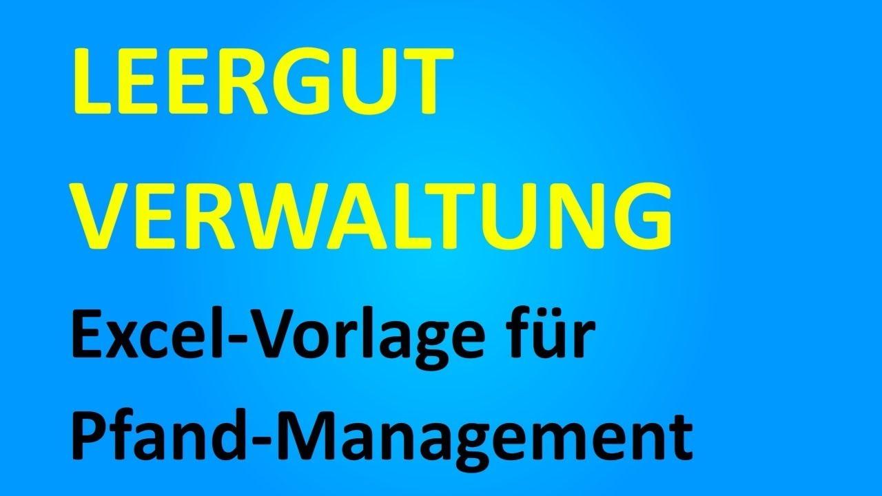 Excel-Vorlage Leergut-Verwaltung / Pfand-Management - YouTube