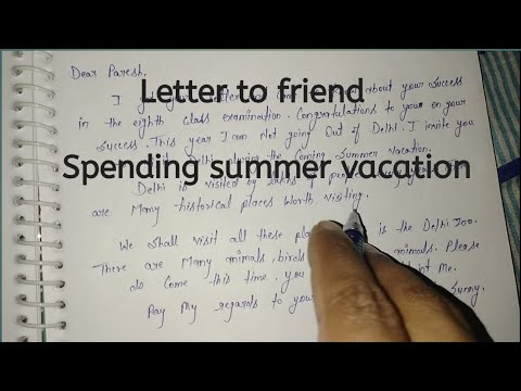 Letter To Friend For Spending Summer Vacation In English Write A Letter For Spending Summer Youtube