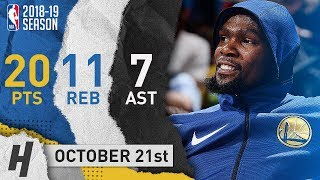 Kevin Durant Full Highlights Warriors vs Nuggets 2018.10.21 - 20 Pts, 11 Reb, 7 Assists
