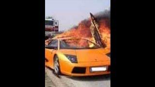 Horrible car crash  speedy driver hit a oil lorry Dubai Dad fat man slap