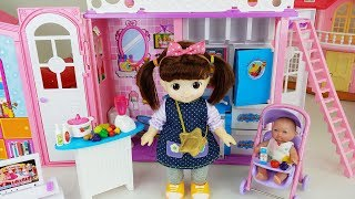 Baby Doll house bed and stair play story music - ToyMong TV 토이몽