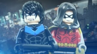 """LEGO DC Superheroes Arkham City Custom """"Nightwing"""" and """"Robin"""" Minifigures Review"""
