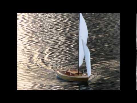 R/C Alden Sloop model sailing on Christian Science pool Boston
