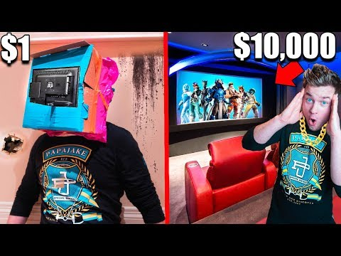 $1 Vs $10,000 Home Movie Theater!! Box Fort Challenge
