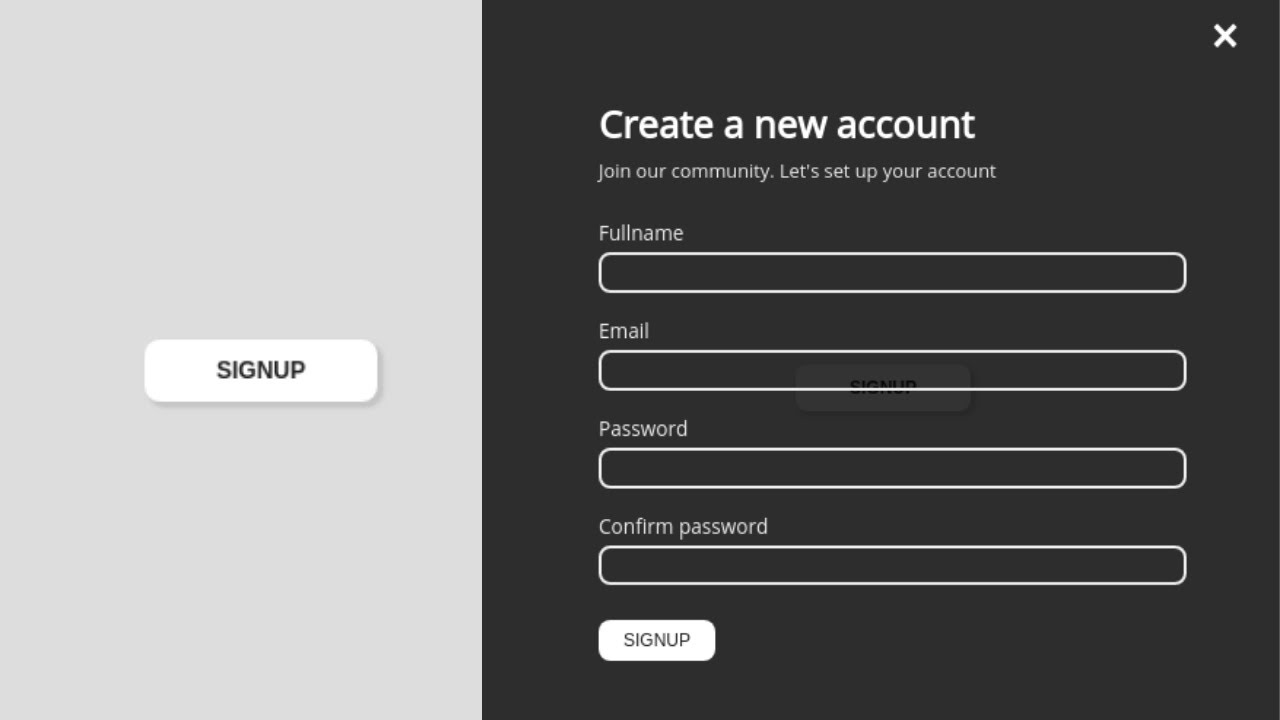 Create Animated Overlay Signup Form using HTML, CSS and JavaScript