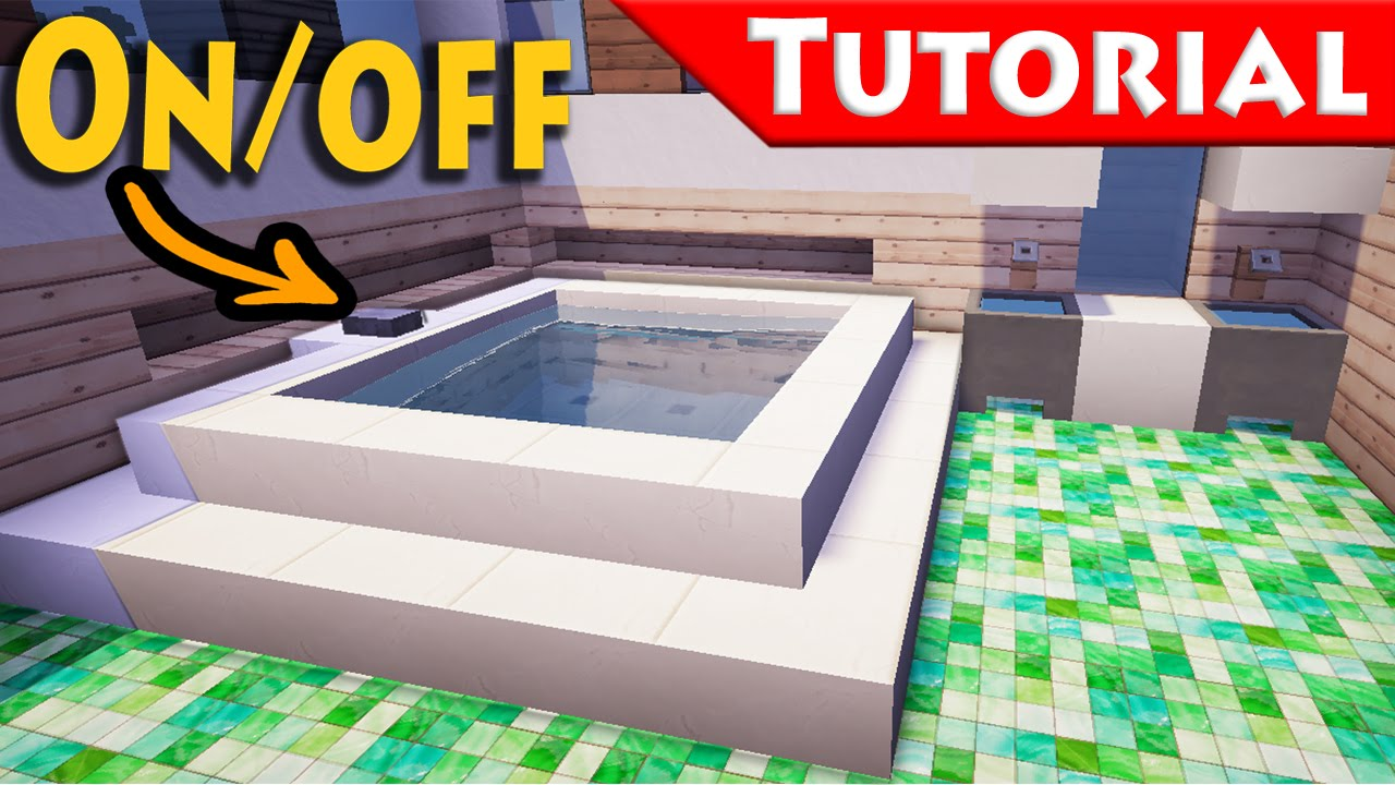 Minecraft working jacuzzi bath tub tutorial how to make