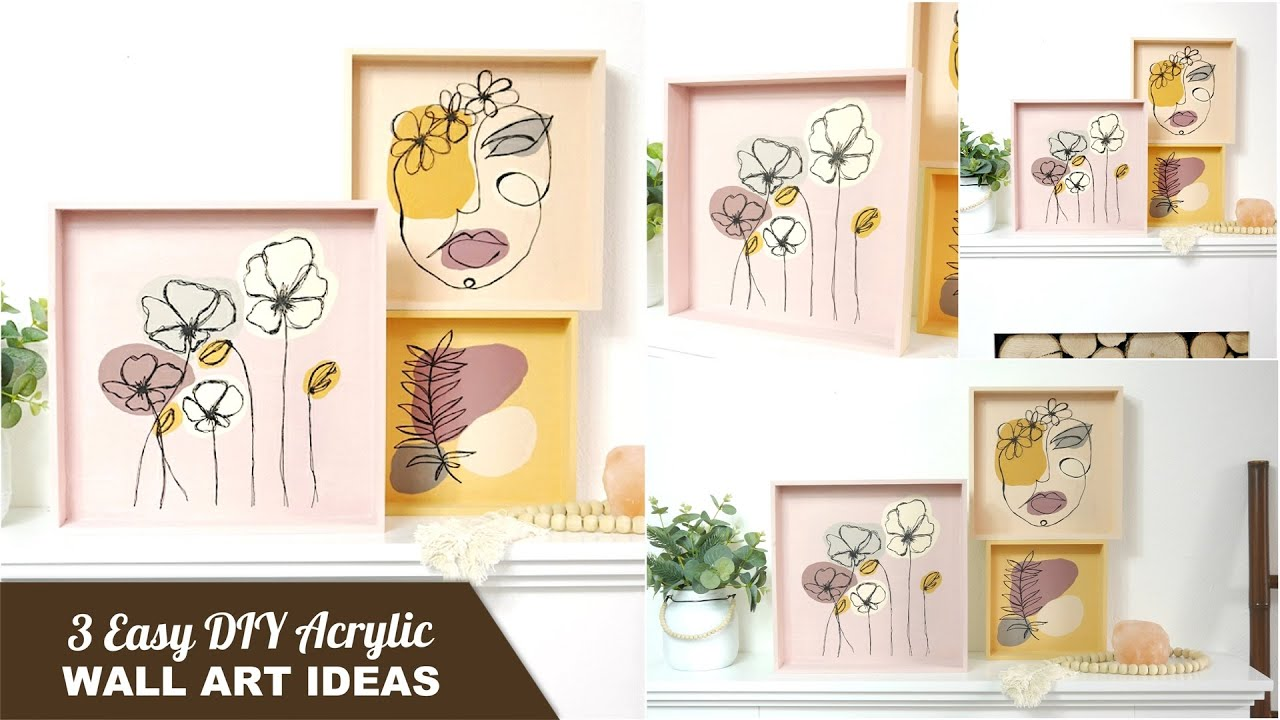 Easy Diy Modern Wall Art Acrylic Paintings Decorate Your Home On A Budget Boho Style Home Decor Youtube
